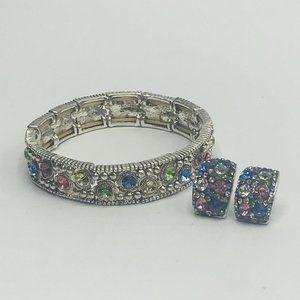 Rhinestone Stretch Bracelet & Earrings